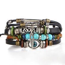 17KM Punk Design turc Bracelets pour les yeux pour hommes femme nouveau Bracelet de mode femme hibou Bracelet en cuir pierre bijoux Vintage(China)