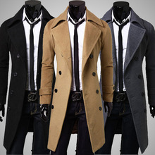 2015 New autumn and Winter Fashion Double-breasted Men Trench Coats Long Slim Fashion  Men Trench for 3 Colors Choose(China (Mainland))