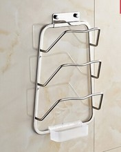 high quality 304 stainless steel chrome finish three lever wall mounted pot cover holder kitchen accessories cooking tools