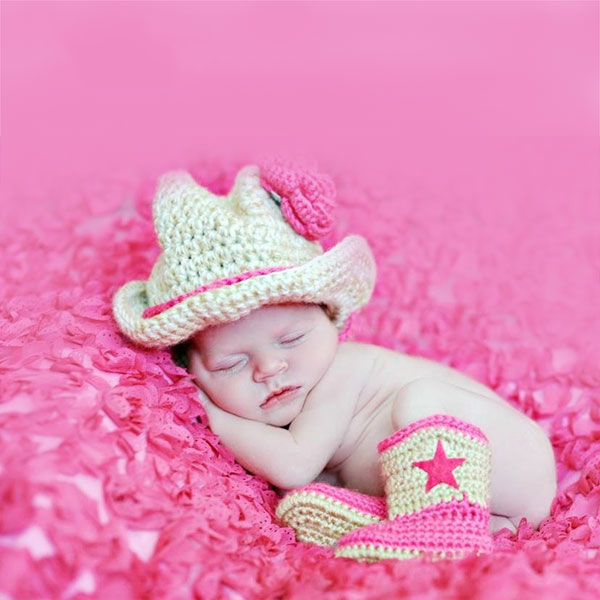 Baby lady's cowboy style hat suit,Free Shipping baby girl Hat and Cool Crochet Boots Handmade Crochet baby hat and booties(China (Mainland))