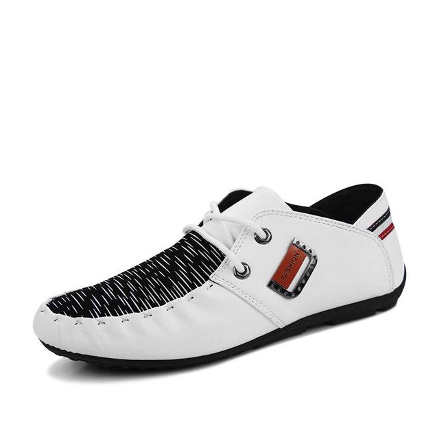 Мужская Мода Белый Квартиры Замша Мокасины Лето мужчины дышащий Низкие Горох Обувь ...