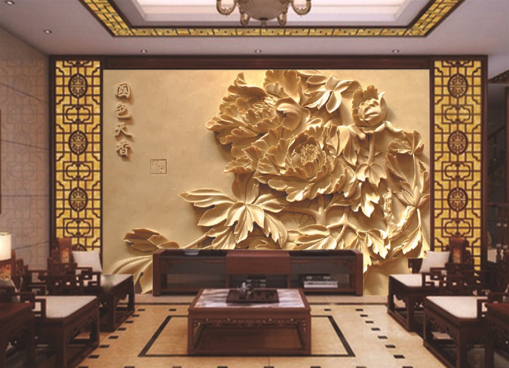Papel de parede exquisite carvings tv backdrop birds for Custom mural wallpaper