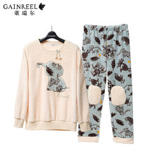 Song Riel autumn and winter flannel suit tracksuit couple cute pajamas men and ladies casual comfort