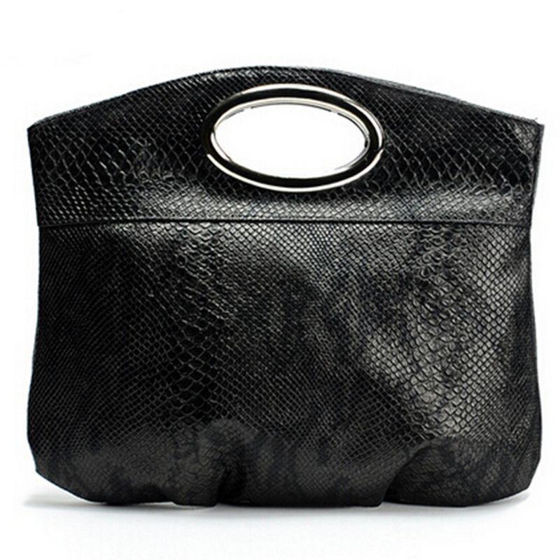 2016 New Fashion Metal handle small black bag women leather handbags snakeskin bags Women Tote bolsas femininas A40-206(China (Mainland))