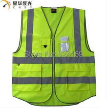 Vêtements de sécurité 5-pockets trafic adulte haute visibilité gilet de sécurité réfléchissant assainissement travailleur gilet réfléchissant gilet de pêche(China (Mainland))