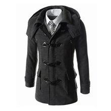 2015 Men Fashion Winter Slim Fit Jacket Worsted Trench Pea Coat Solid Worsted Overcoat Stand Collar Cappotto 13M0523(China (Mainland))