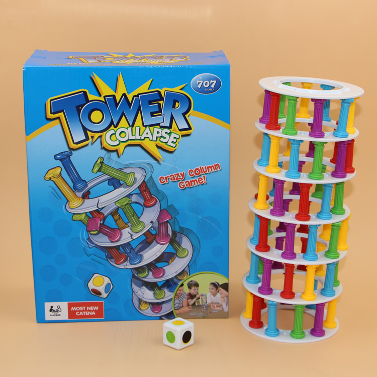 Hot Ins Boom Boom Tower Collapse Family Funny Game.28*21 cm table Building play blocks eiffel tower Pisa tower(China (Mainland))
