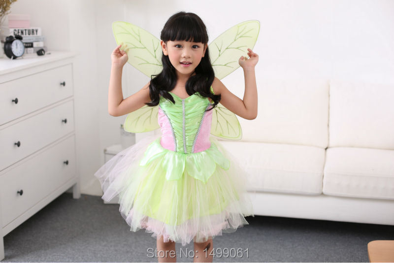 Fashion Halloween Kids Dress Princess Dress Tinker Bell Insect Dress with Wings Wholesale(China (Mainland))