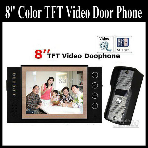 8 Inch TFT Monitor LCD Video DoorPhone With Take Picture And Video Intercom 11 DoorBell Rings Supports SD Card Function(China (Mainland))