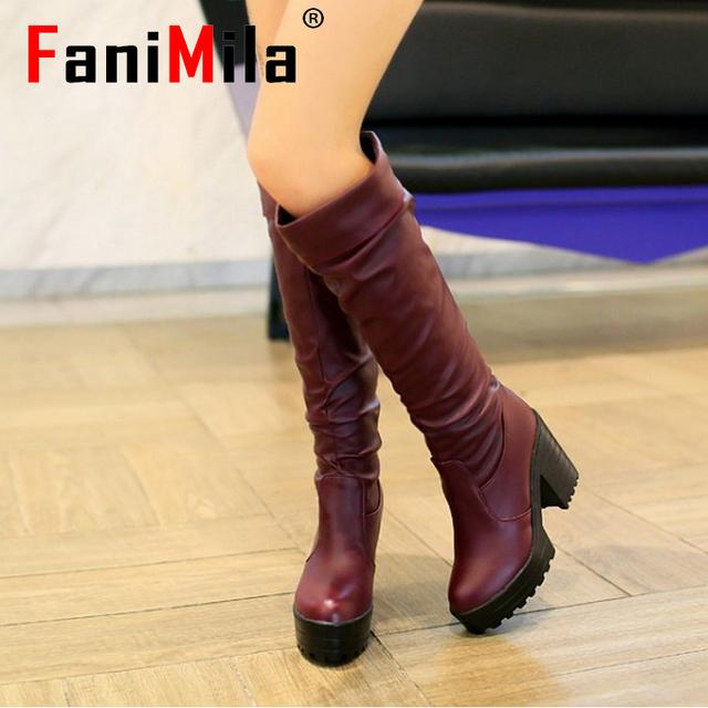Женщины высокий каблук более-сапоги платье мода снег загрузочные теплые туфли-botas ...