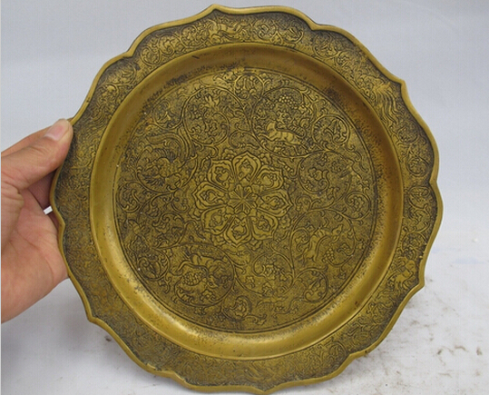 SUIRONG---426+++ China Royal Bronze Copper Dragon Phoenix Animal Palace Salver Tray Dish Plate(China (Mainland))