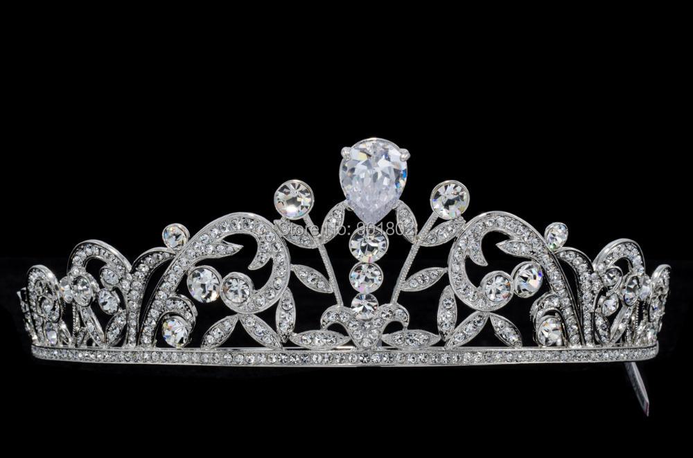 New 2015 Austrian Crystal Zircon Pageant Tear Drop Zircon Tiaras Crown Headbands for Wedding Bridal Jewelry Accessories SHA8676(China (Mainland))