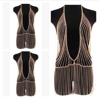 Hot 2015 Fashion Jewelry Accessories Punk Heavy Metal Multilayer Tassel Gold Body Chain Long Necklace Statement For Women(China (Mainland))