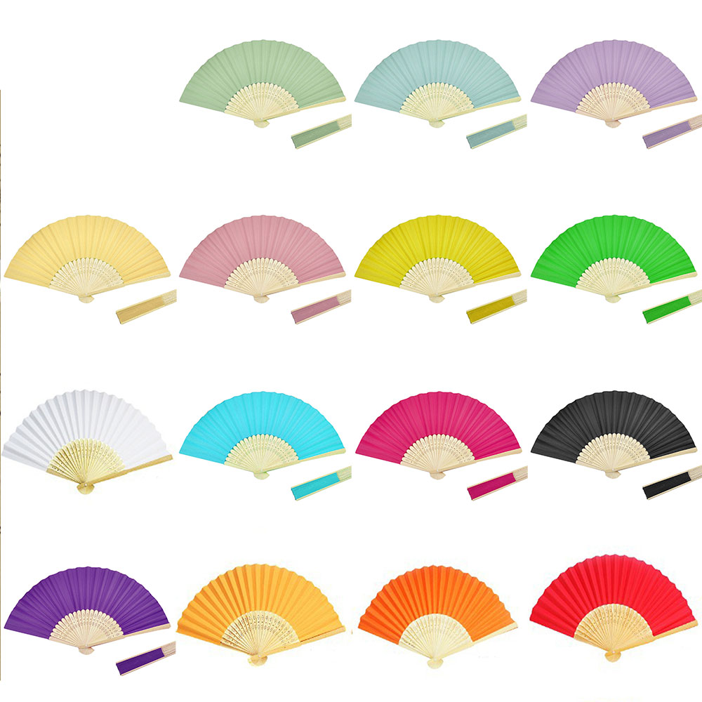 10pcs Chinese Folding Hand Held Bamboo Paper Fans Pocket Fan Background Decorations Wedding Birthday Baby Shower Party Decor(China (Mainland))