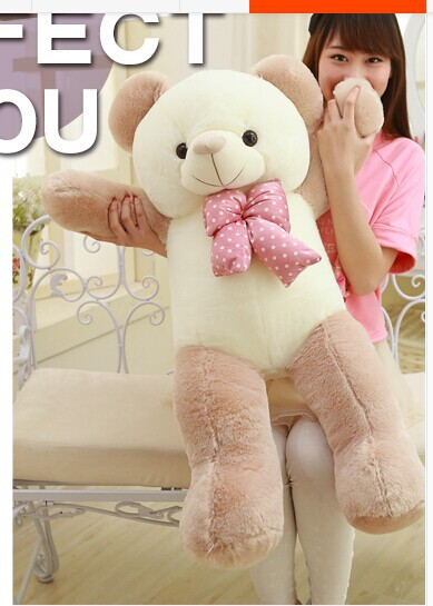 lovely new plushed Teddy bear toy stuffed light brown teddy bear with bow birthday gift about 120cm(China (Mainland))