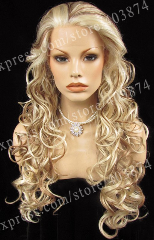 n5 100161330 heat resistant long body wavy white mixed blonde and auburn color synthetic lace hair wig halloween party - Auburn Coloration