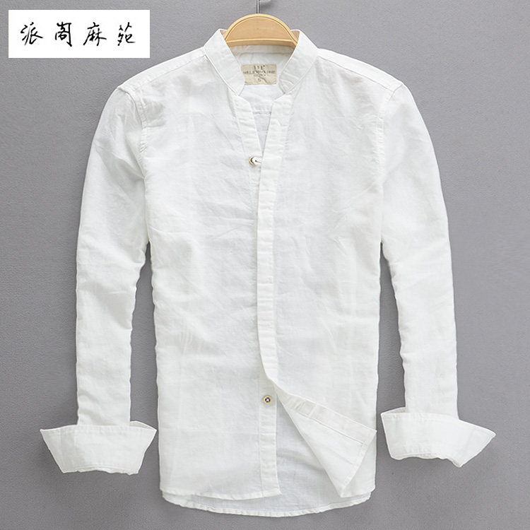 Hot 2015 Spring And Autumn Male Linen Shirt Men Fashion Slim Fit Small Stand Collar Men's Clothing White Fluid Long-sleeve Shirt