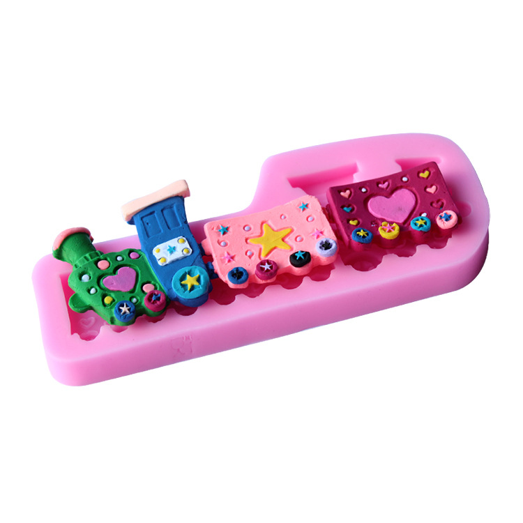 Train choochoo cake molds mold Fondant Cakes Decoration tools DIY baking Silicone moulds patterns sugar paste cutters(China (Mainland))
