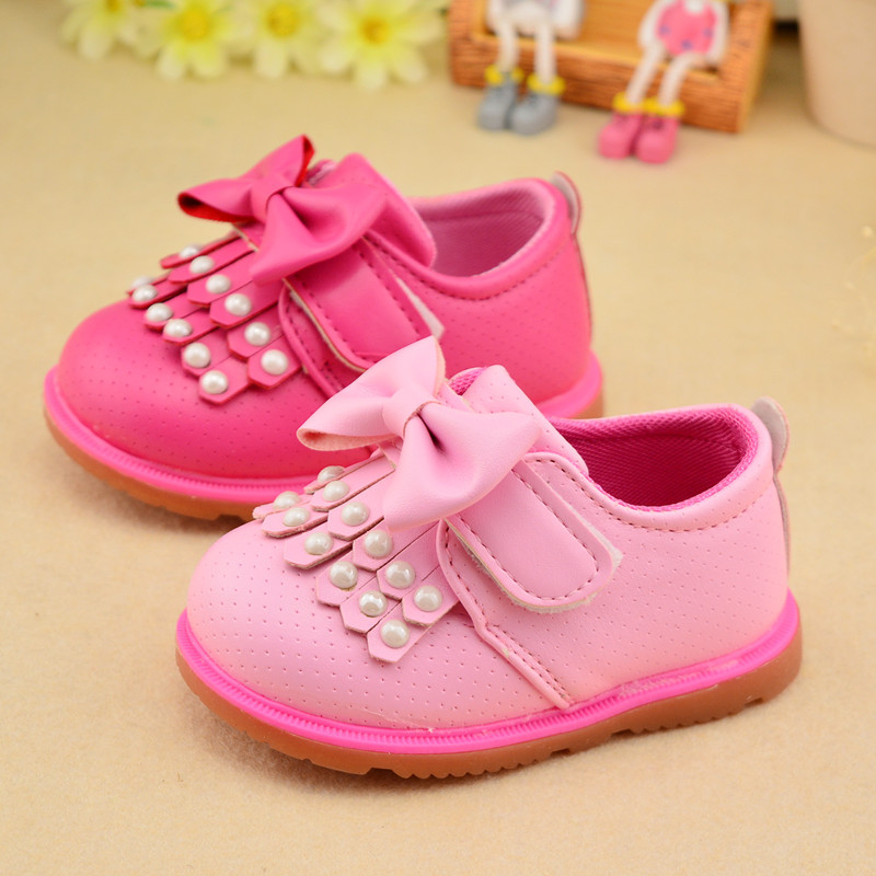 1-2 years spring Baby Girl Toddler shoes baby shoes soft bottom PU Leather Shoes sweet Pearl tassels Children's shoes 11-13CM
