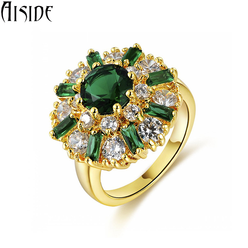 Vintage green stone vintage jewelry rings for women CZ simulated shine white diamond ring for party Champagne 18K gold plated(China (Mainland))