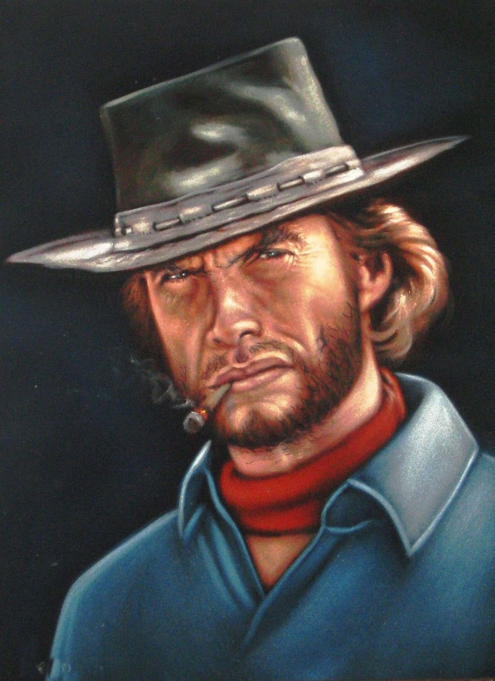 2015 top COOL oil painting- cowboy Clint Eastwood Spaghetti <b>Western ART</b> <b>...</b> - 2015-top-COOL-oil-painting-font-b-cowboy-b-font-Clint-Eastwood-Spaghetti-font-b-Western