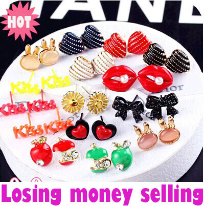 Lower Price Money Style Losing Money Red Apple Mouth Lip Flower Water Rabbit Crystal Stud Earring For Women Fashion Jewelry(China (Mainland))