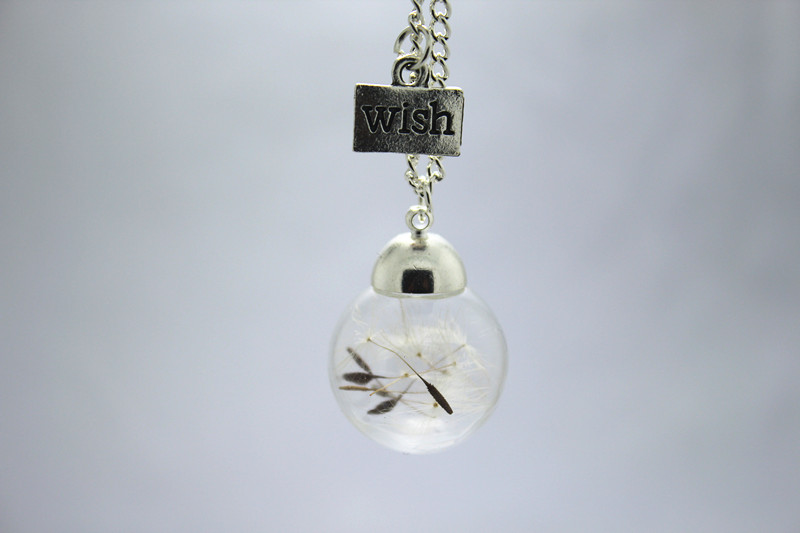 8pcs/lot Make a Wish Bronze and silver chain glass Dandelion Real Dandelion Necklace(China (Mainland))