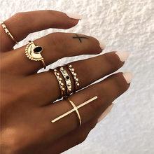 ZORCVENS 5 шт./компл. костяшки пальцев кольцо с черным камнем Boho Star лунные Кольца Набор для женщин массивные Винтажные Ювелирные Изделия(China)