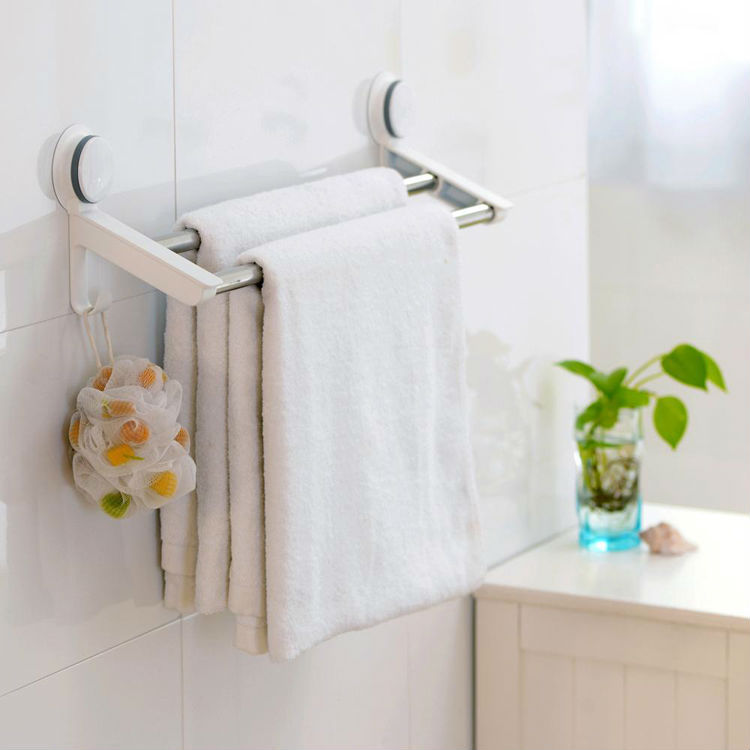 Strengthened stainless steel double towel rails suction cup bathroom accessory towel hanger wall towel rack with hooks(China (Mainland))