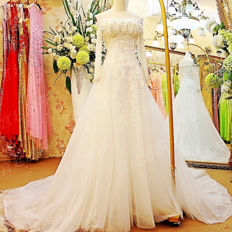 2015 new luxurious pearl boat neck wedding dress lace long for Boat neck long sleeve wedding dress