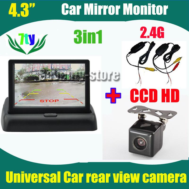 "3in1 wireless 2.4G Car backup parking camera CCD HD Universal car rear view camera and 4.3"" car rearview monitor mirror(China (Mainland))"