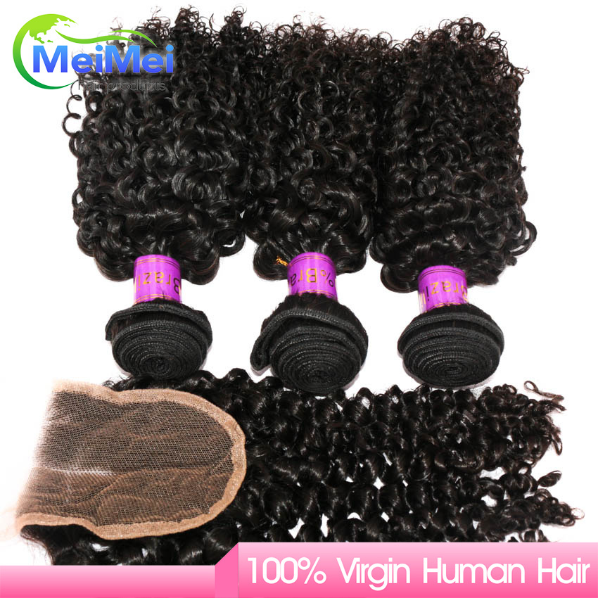 MeiMei Hair Brazilian Curly Hair With Closure 3 Hair Weft With Closure  Virgin Hair Brazilian Curly Wavy WIith Closure