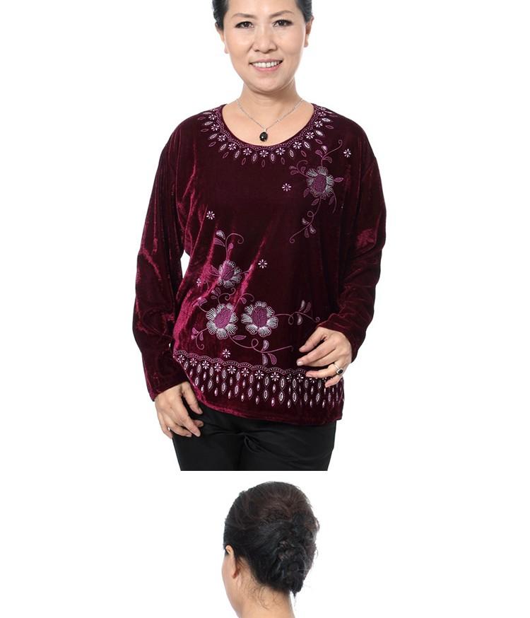 Autumn Quinquagenarian Velvet Blouses Flannel Tops Middle age Women\'s Red Blue Black Purple Blouse Flower Pattern Clothings Mom cc