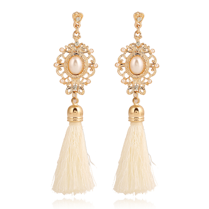New Fashion 2016 Ethnic Style Chunky Long Tassel Earring For Costume Party Pierced Cheap Earring