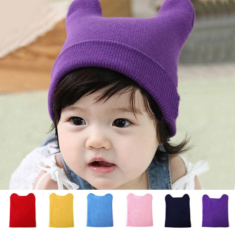 Winter Warm Knit Baby Beanie Kids Wool Hat Cat Ear Shape crochet bonnet enfant,chapeu infantil for 3-18 months Old Baby Girls,(China (Mainland))