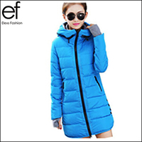 New Winter Down Coat 2015 Hooded Slim Long Women Cotton Jackets Autumn Parkas Coats Female EF584