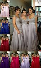 8 color! Cheap Bridesmaid Dresses Appliques Spaghetti Straps Sleeveless A Line Lace-up Floor Length Stock Chiffon Formal Dress