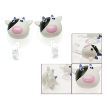 Pair Removable Suction Cup Cartoon Cow Wall Hook Hanger White,FREE SHIPPING(China (Mainland))