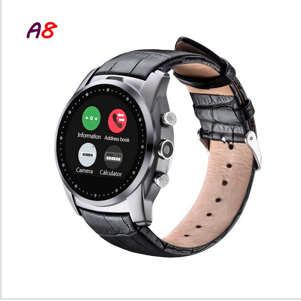 Round Dial Bluetooth Smart Watch A8,SIM Card/Memory Card Support,Bluetooth 3.0,Built-in Camera/Speaker/Microphone,Vintage Style(China (Mainland))