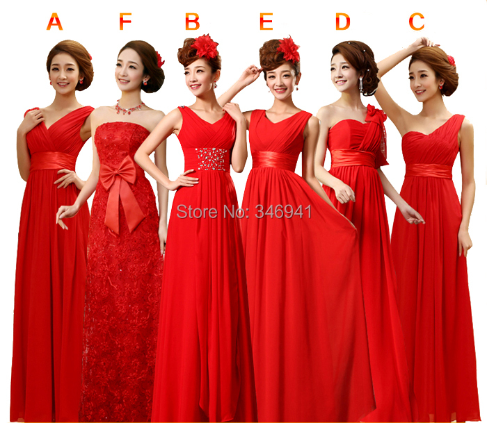 2014 Bridesmaid Dresses V Neck Bright Red Lace Up Long