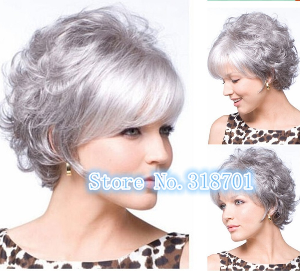 Buy Short Hair Wig Latest Styles Silver Mix Color Synthetic Wigs 2015 Newest