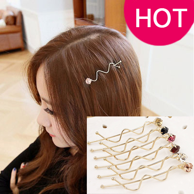rhinestone hairpin bangs hair pin side-knotted clip small clip hair accessory wave twist clip hair accessory(China (Mainland))