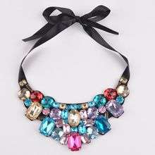 luxury fashion short statement necklace and pendant resin color fashionable woman Cristal rhinestone necklace gift(China (Mainland))