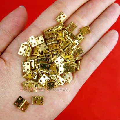 100pcs 10*8 Mini Cabinet Drawer Butt Hinge copper brass gold small hinge 4 small hole copper hinge(China (Mainland))