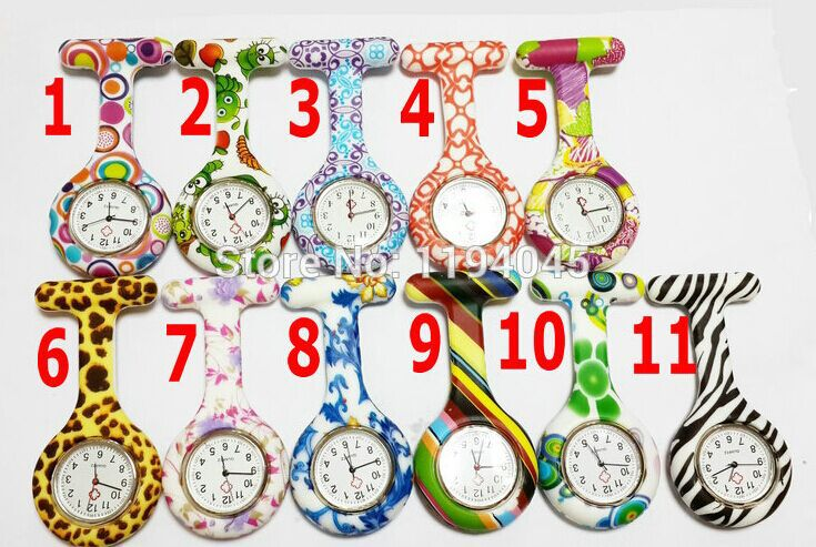 5pcs Hot Sell New Nurse Doctor Watches Silicone Rubber Analog Pocket Watch Fashion Print