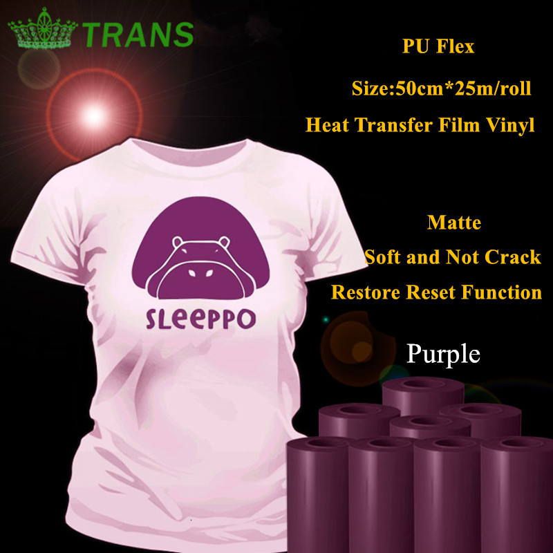 PU Flex heat transfer vinyl for clothing purple color matte thermel press film for tshirt heat transfer film vinyl 50cm*25m/roll(China (Mainland))