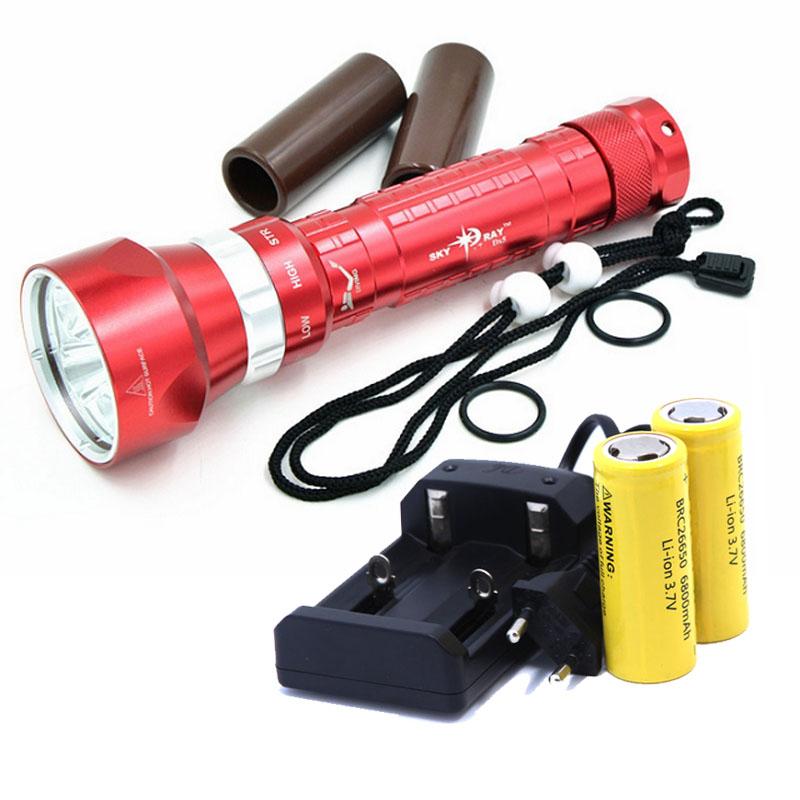 CREE XM-L2 50W 8000LM Waterproof LED Light Scuba Diving Flashlight underwater Diving Flashlight Lamp +2*26650 Battery+Charger(China (Mainland))