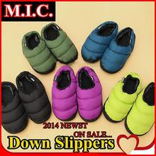 New 2014 Autumn and winter warm lovers indoor slippers fashion 8 candy colors down cotton-padded floor slippers for men & women(China (Mainland))