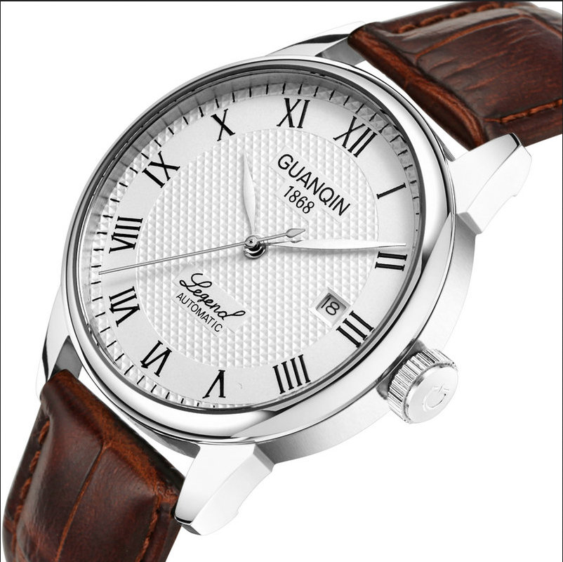 Original authentic luxury GUANQIN man waterproof leather fashion brand business fully automatic mechanical men watches(China (Mainland))