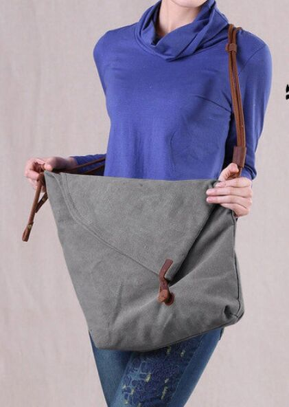 men Women canvas bag with leather falabella shoulder bag lady students school cross body bags 33cm women messenger sac(China (Mainland))